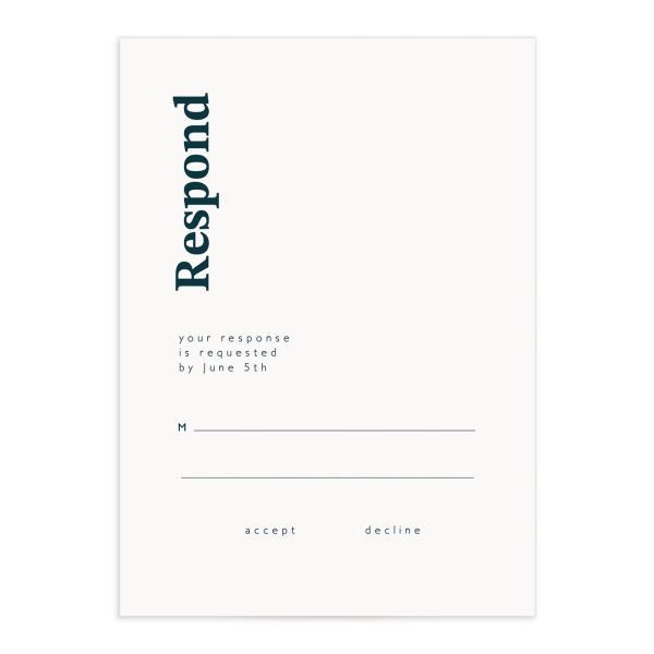 Traverse Type Wedding Response Card front in teal