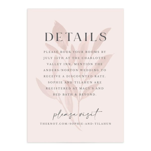 Botanical Imprint Wedding Enclosure Card front in pink
