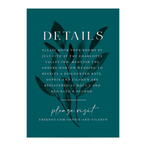 Botanical Imprint Wedding Enclosure Card front in teal