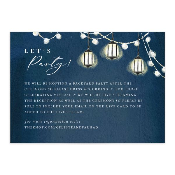 Illuminated Trees Wedding Enclosure Card front in blue