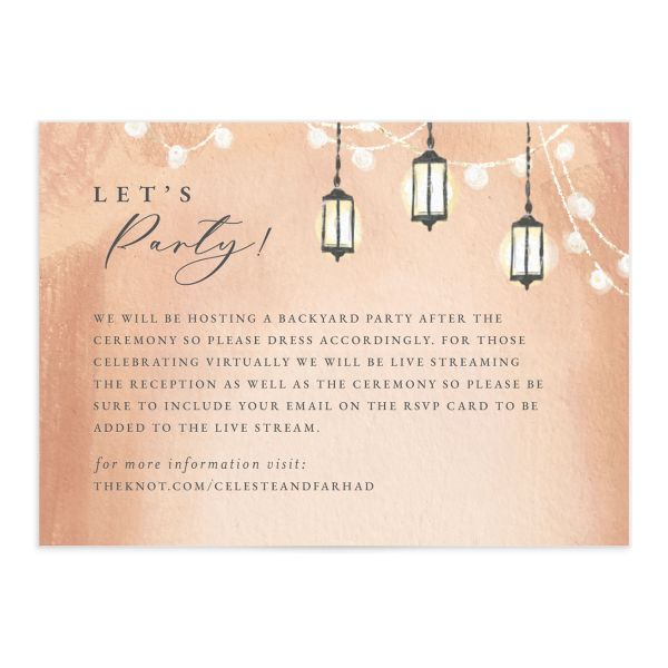 Illuminated Trees Wedding Enclosure Card front in pink