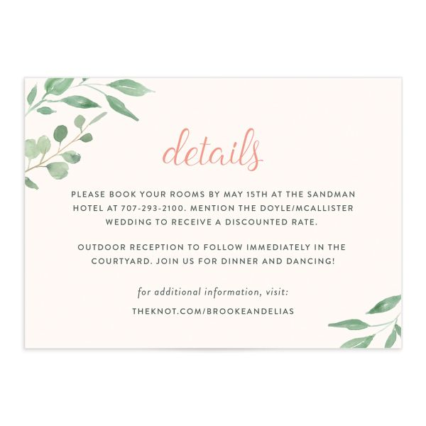 Romantic Floral Wedding Enclosure Card front