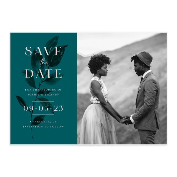 Botanical Imprint Save the Date Card front in teal