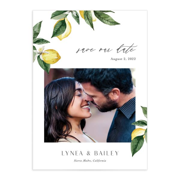 Botanical Lemon Save the Date Card front