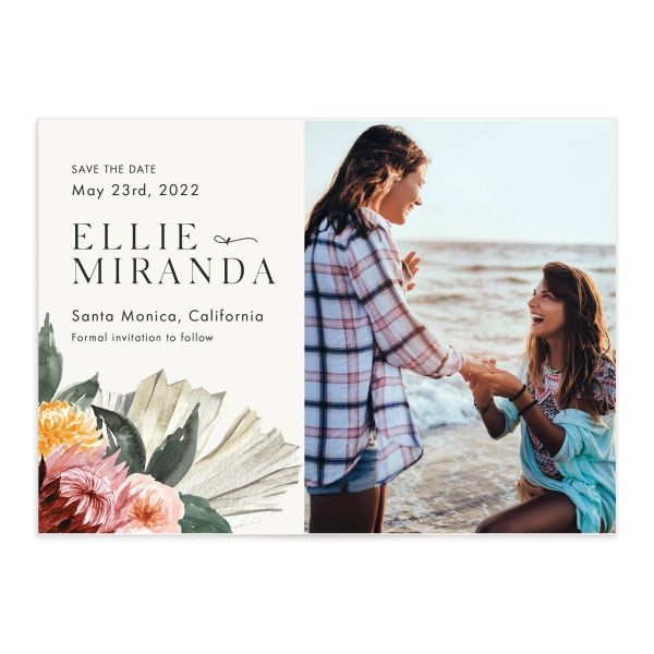 California Florals Save the Date Card front closeup