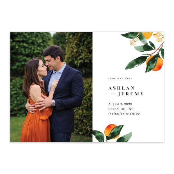 Orange Citrus Save the Date Card front closeup