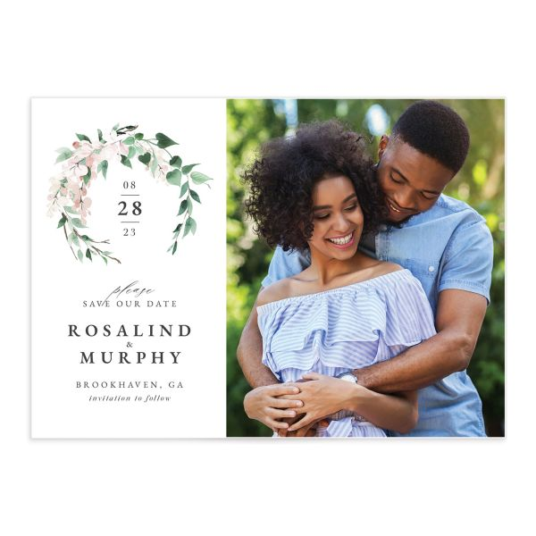 Romantic Wisteria Save the Date Card front in pink