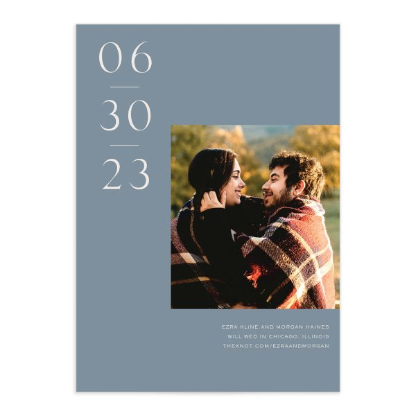 Soulmates Save the Date Card front in blue