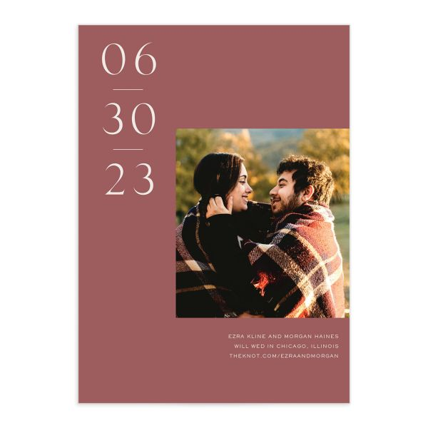 Soulmates Save the Date Card front in pink