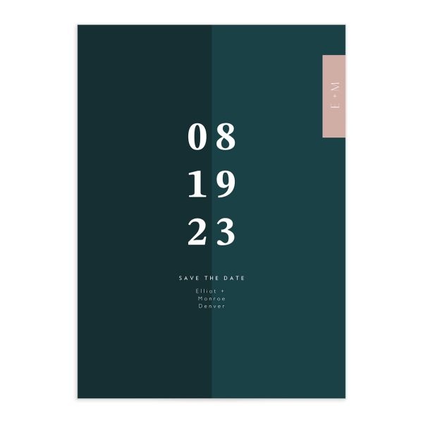 Traverse Type Save the Date closeup front in teal