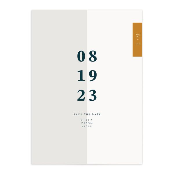 Traverse Type Save the Date closeup front in white