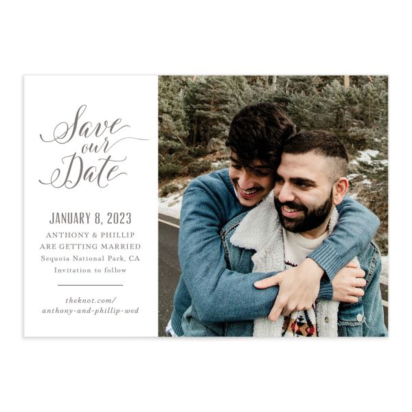 Winter Fir Save the Date Card front in brown