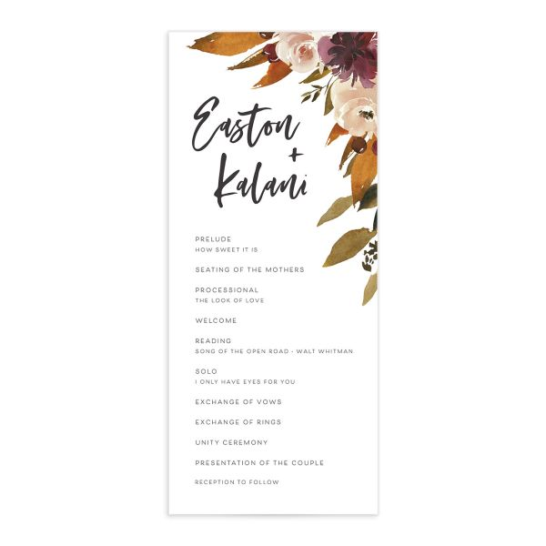 Fall Foliage Wedding Ceremony Program front in brown