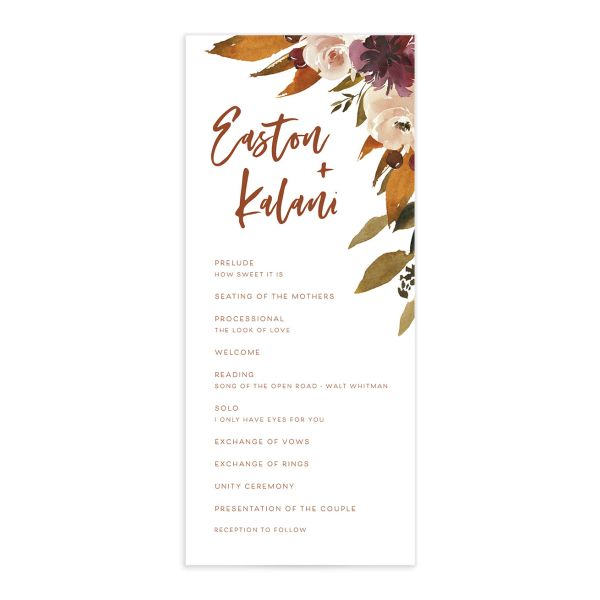 Fall Foliage Wedding Ceremony Program front in pnk