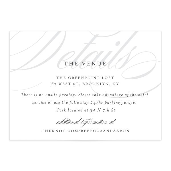 Elegantly Initialed Enclosure Card front in grey