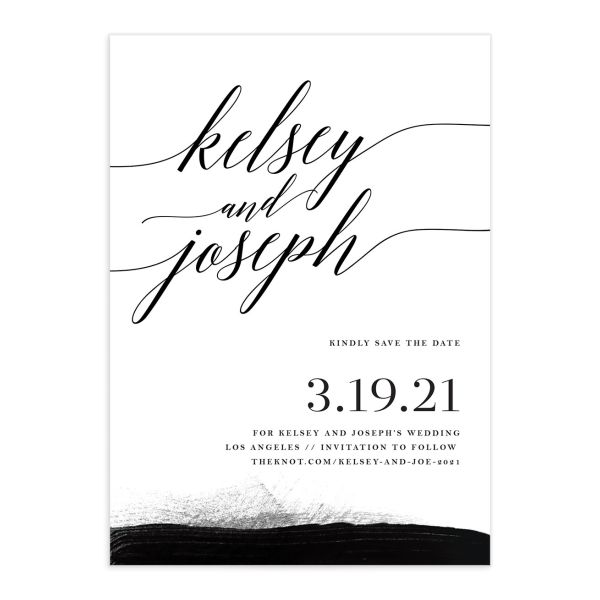 Painted Minimal Save the Date Card front closeup