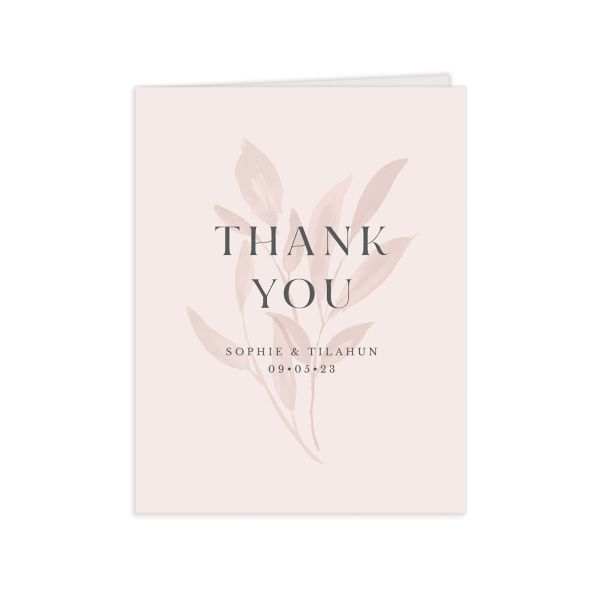 Botanical Imprint Thank You Card front in pink