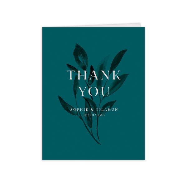 Botanical Imprint Thank You Card front in teal