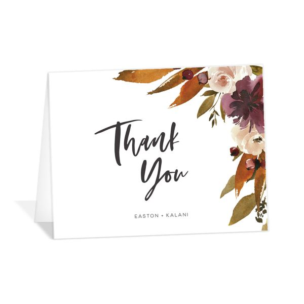 Fall Foliage Thank You Card front in brown