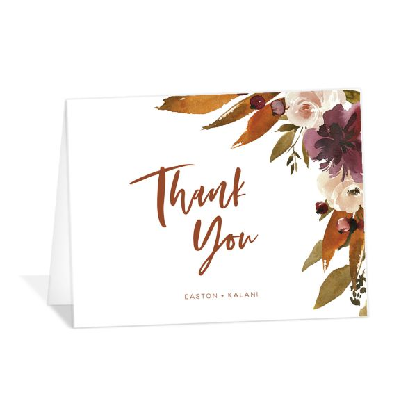 Fall Foliage Thank You Card front in pink