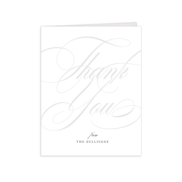Elegantly Initialed Thank You Card front in grey