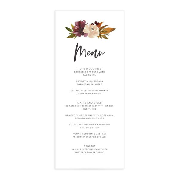 Fall Foliage Menu Card front in brown