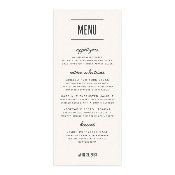 Industrial Marquee Menu Card front in grey