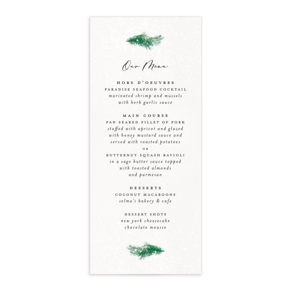 Snowy Wreath Menu Card front in green