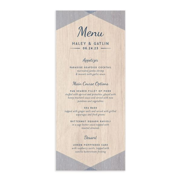Vintage Nautical Menu front in blue