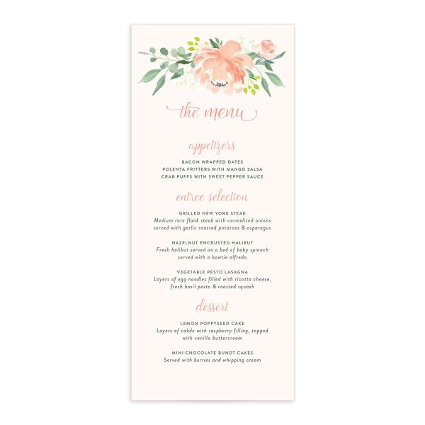 Romantic Floral Menu Card front