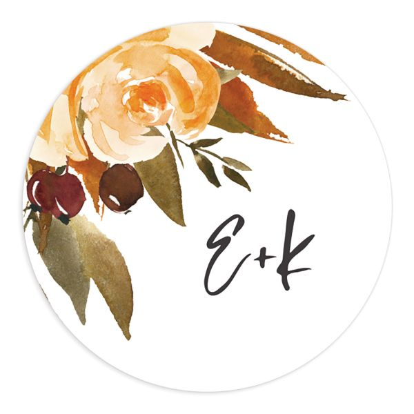 Fall Foliage Round Sticker front in brown