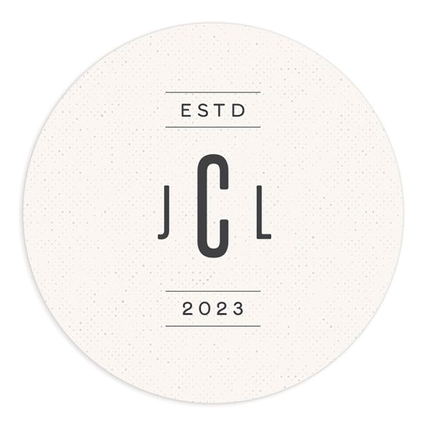 Industrial Marquee Round Sticker in grey
