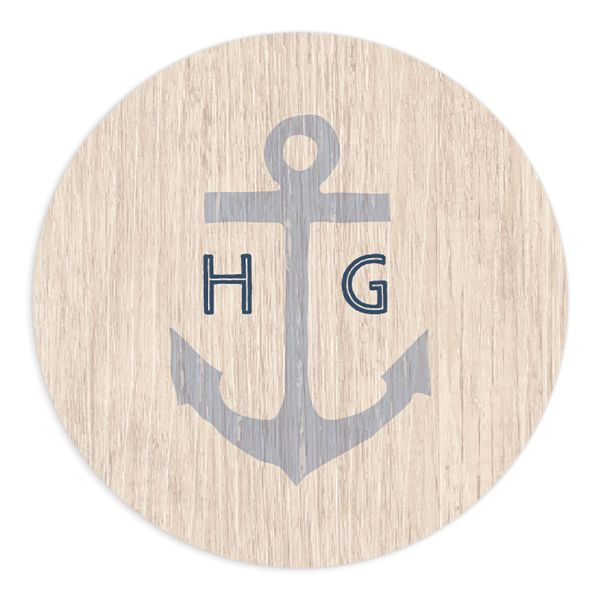 Vintage Nautical Wedding Sticker in blue