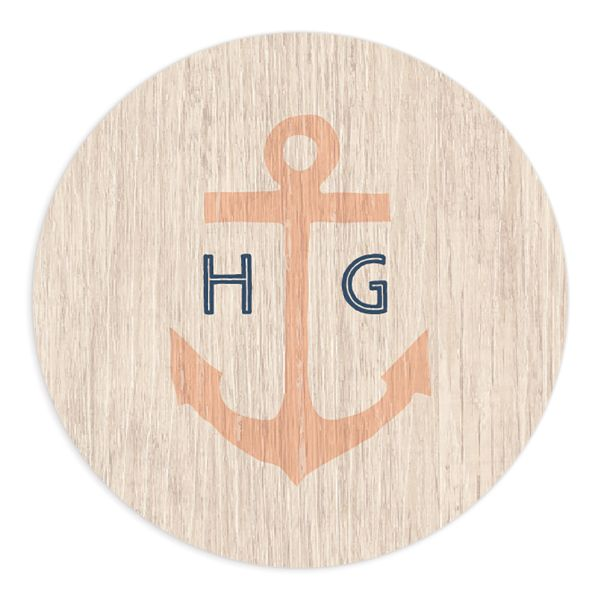 Vintage Nautical Wedding Sticker in orange