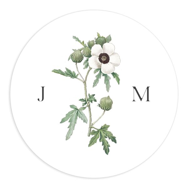 Vintage Peony Wedding Sticker