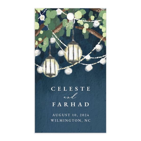 Illuminated Trees Wedding Favor Gift Tag front in blue