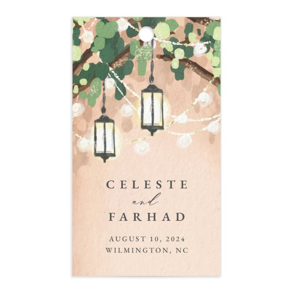 Illuminated Trees Wedding Favor Gift Tag front in pink