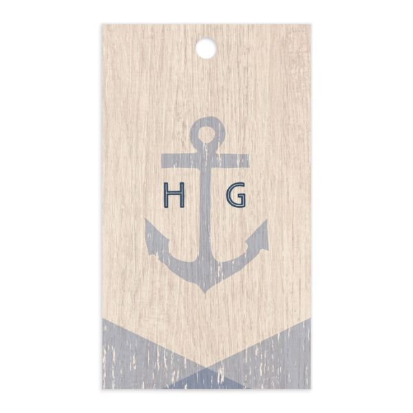 Vintage Nautical Gift Tag front in blue