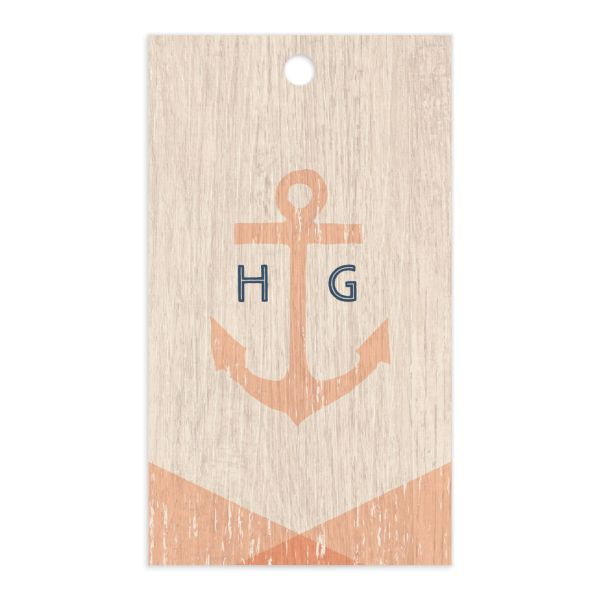 Vintage Nautical Gift Tag front in orange