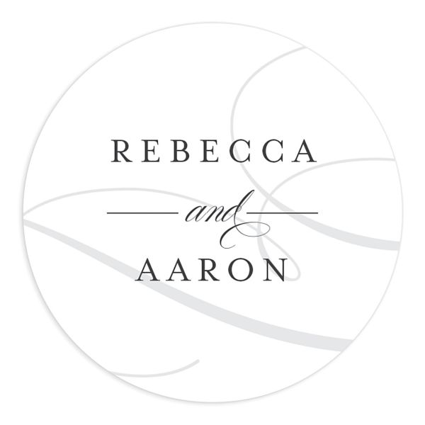 Elegantly Initialed Wedding Sticker front in grey
