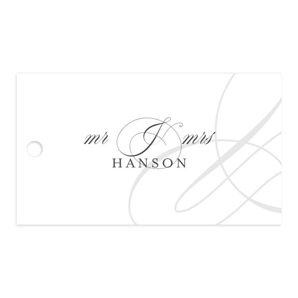 Elegantly Initialed Favor Gift Tag front in grey