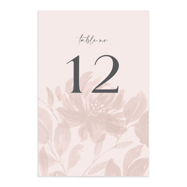 Botanical Imprint Table Number Card front in pink