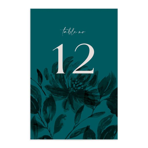 Botanical Imprint Table Number Card front in teal
