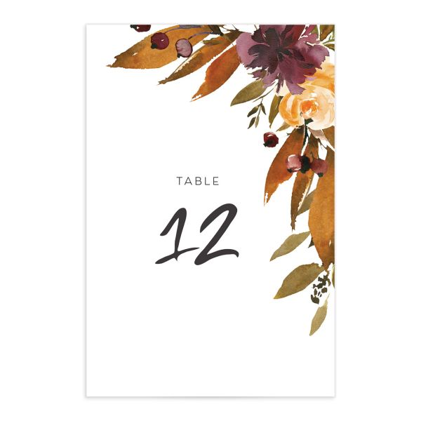 Fall Foliage Table Number Card front in brown