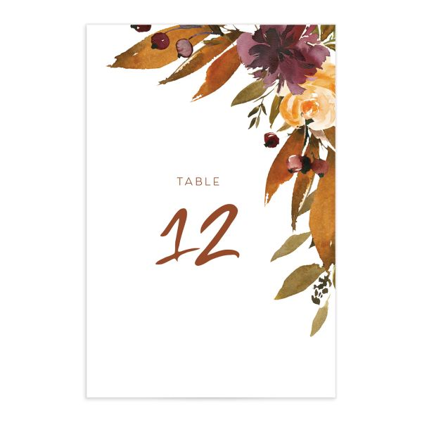 Fall Foliage Table Number Card front in pink