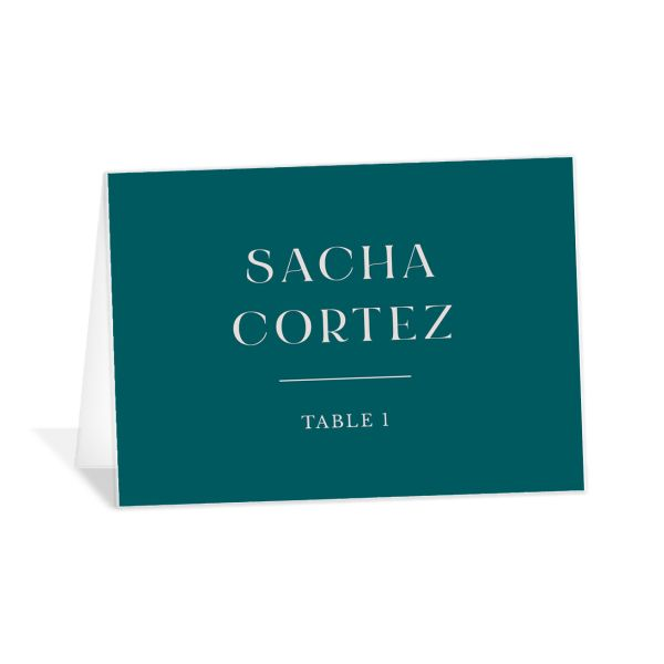 Botanical Imprint Place Card front in teal