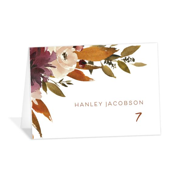 Fall Foliage Place Card front in pink