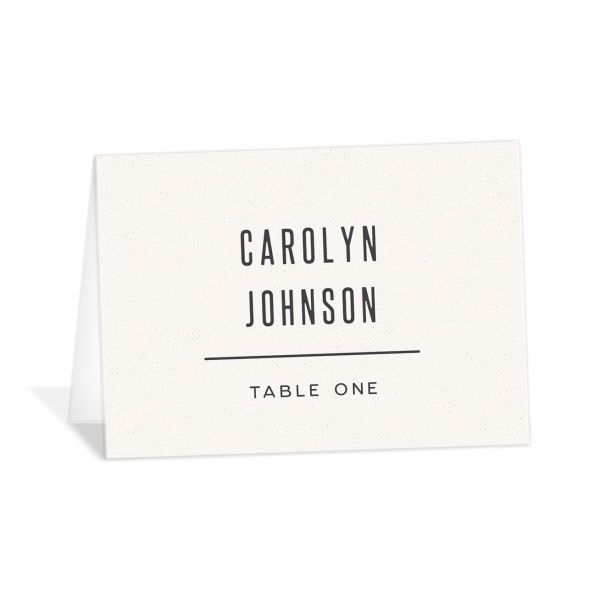 Industrial Marquee Place Card front in grey
