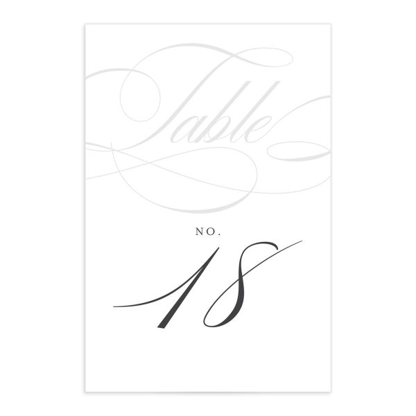 Elegantly Initialed Table Number front in grey