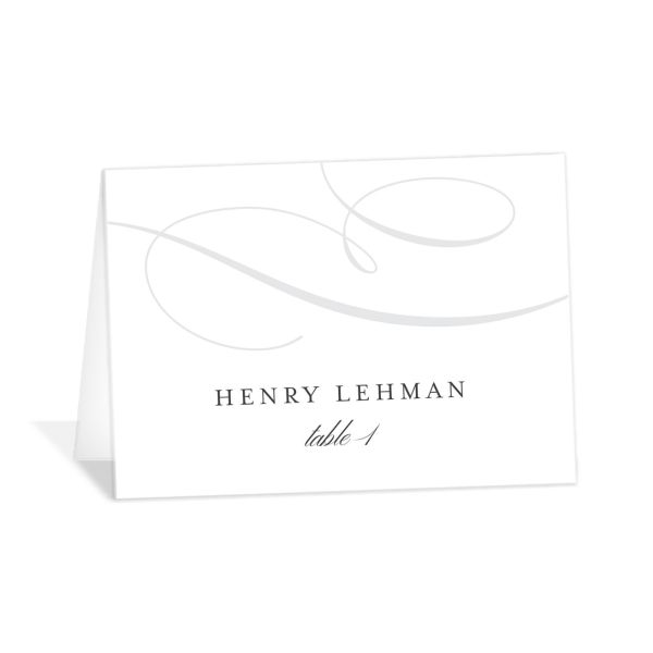 Elegantly Initialed Place Card front in grey